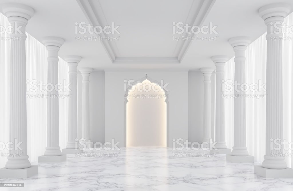 Luxury white empty room classic space interior 3d rendering image stock photo