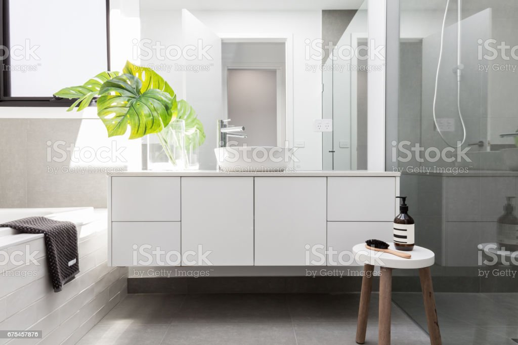 Luxury white family bathroom stock photo