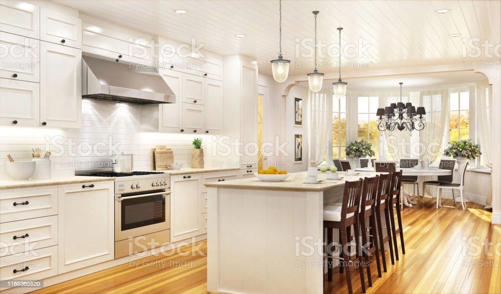Lyxigt vitt kök och matsal i ett stort vackert hus - Royaltyfri Arkitektur Bildbanksbilder