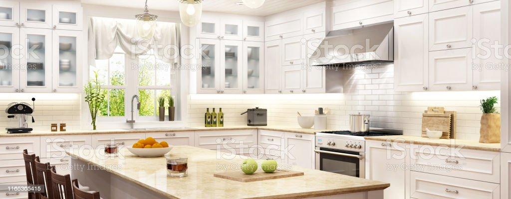 Luxury White Kitchen With Kitchen Island Stock Photo