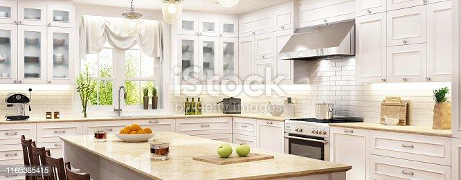 istock Luxury white kitchen with kitchen island 1165365415