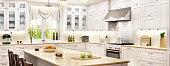 Luxury white kitchen with window