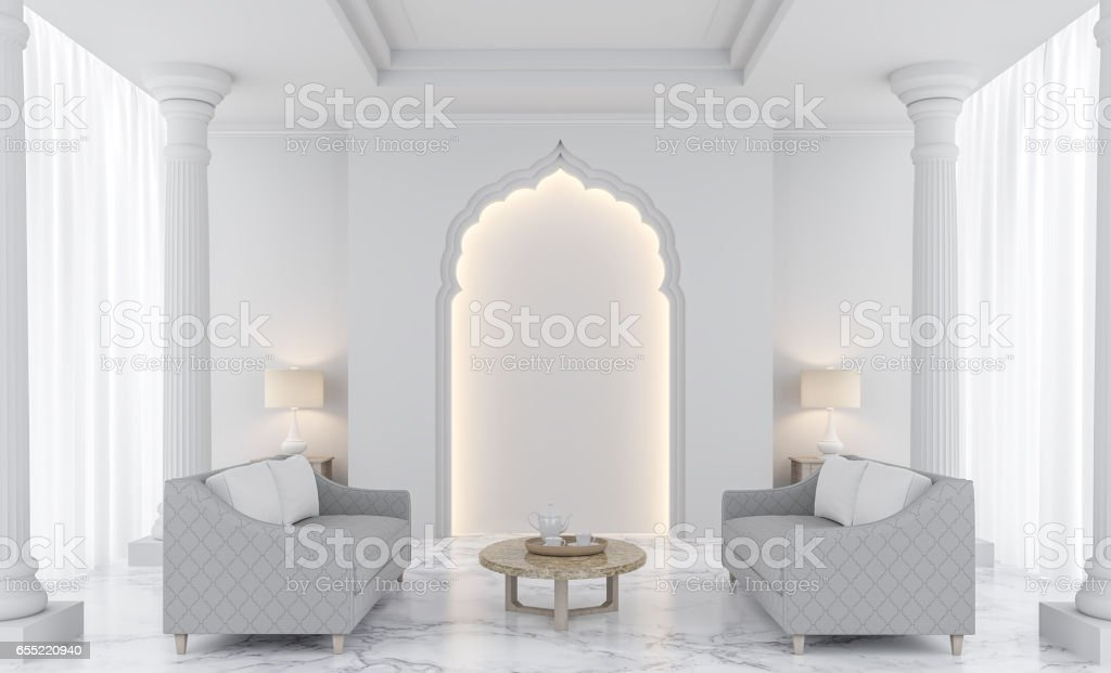Luxury white living room 3D rendering Image stock photo