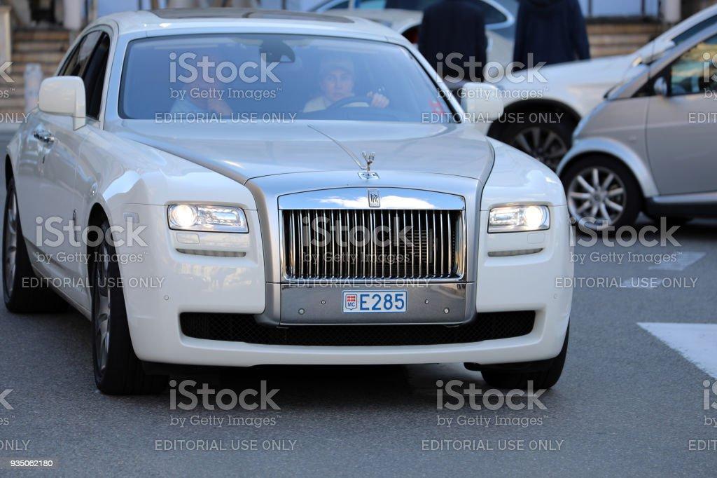 Luxury White Rolls-Royce in Monaco stock photo