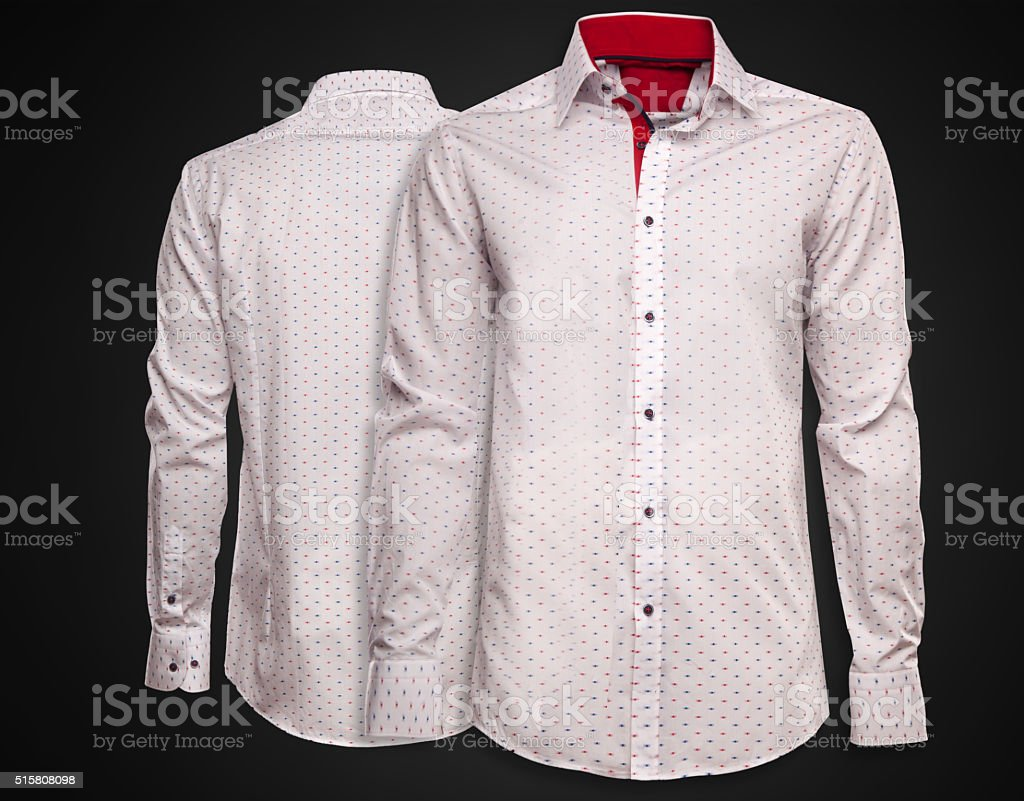 Luxury white shirt on dark background. Businessman clothes stock photo