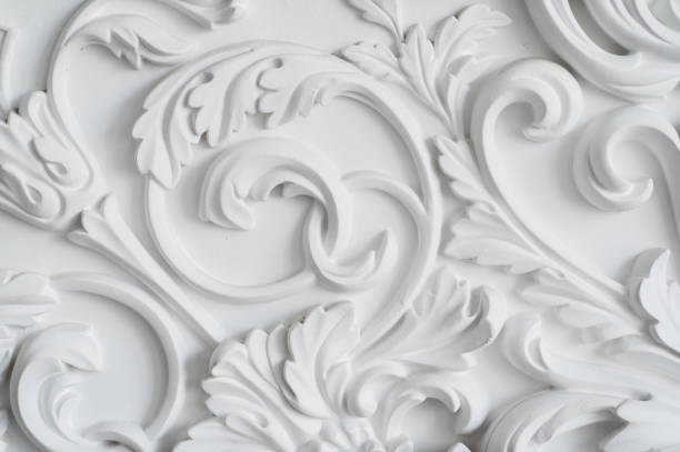 Luxury white wall design bas-relief with stucco mouldings roccoco element - foto stock