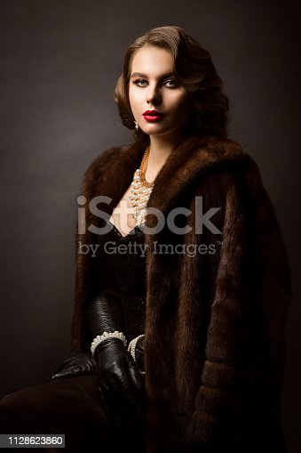 Luxury Woman in Fur Coat, Fashion Model Beauty Portrait, Old Fashioned Well Dressed Lady over black studio background