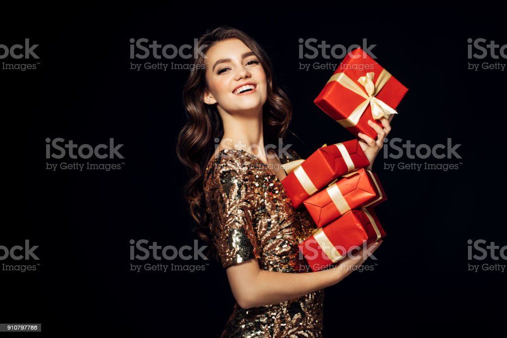 Luxury woman with a gift stock photo