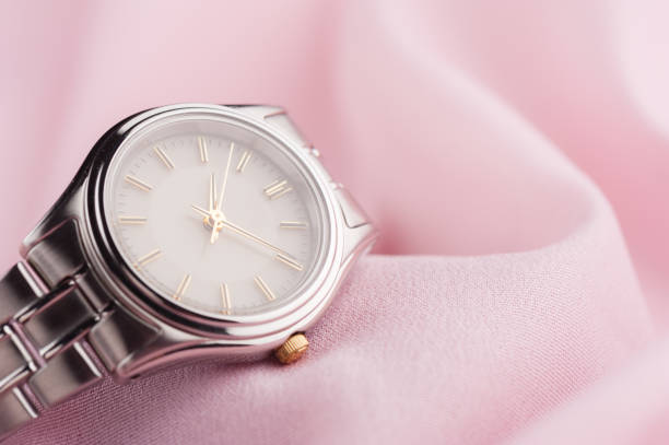 luxury woman wristwatch closeup classic woman wristwatch with stainless steel bracelet wristwatch stock pictures, royalty-free photos & images