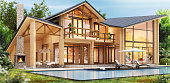 Luxury wooden house with large swimming pool