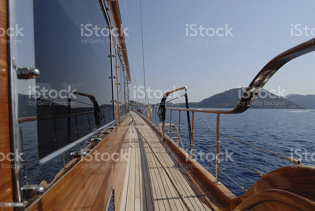 luxury wooden sailboat royalty-free stock photo