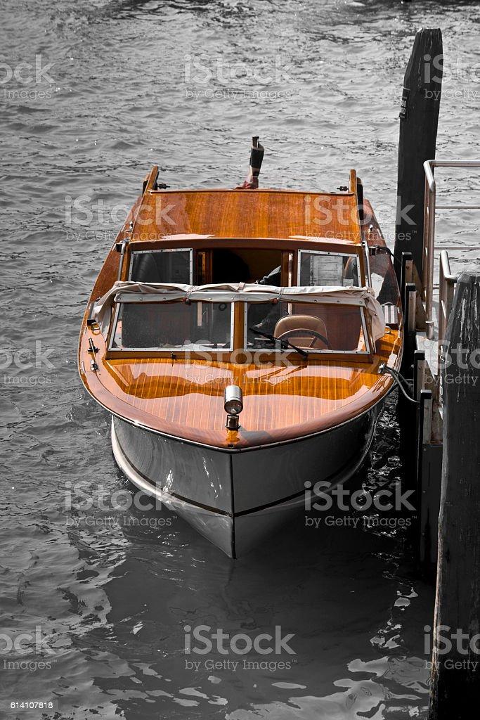 Luxury wooden speedboat stock photo
