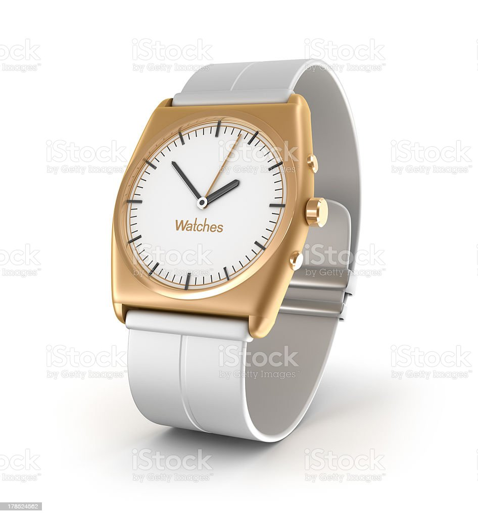 Luxury wrist watch in gold color. royalty-free stock photo