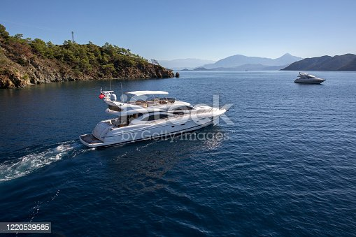 Amazing View to Luxury Yacht Sailing in Mediterranean / Aegean sea at Sunny Day. Bird's Eye-View.