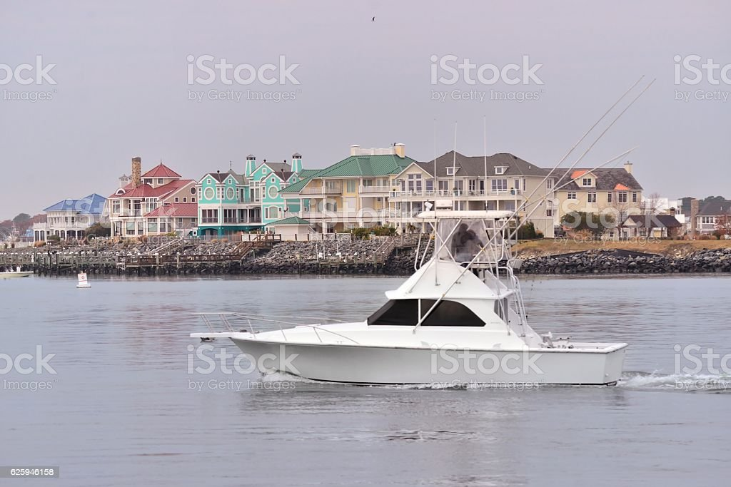 Luxury Yacht and Waterfront Houses stock photo