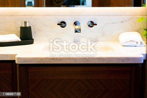 Closeup luxury yacht ensuite, background with copy space, full frame horizontal composition