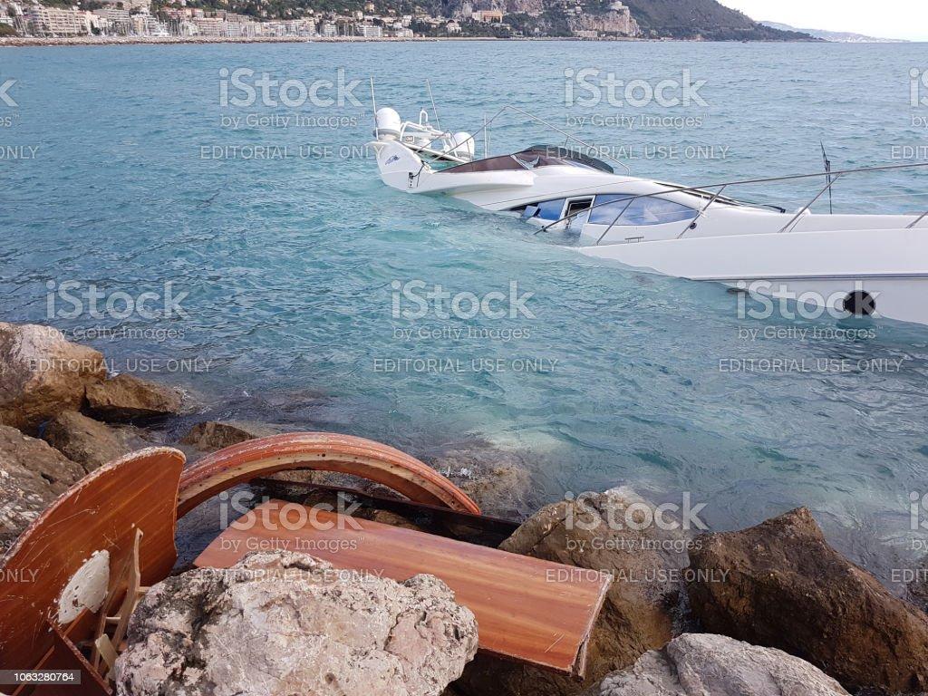 Luxury Yacht Half Sunken stock photo