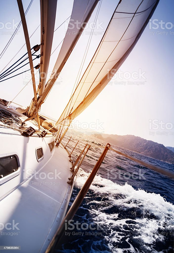 Luxury yacht in action stock photo