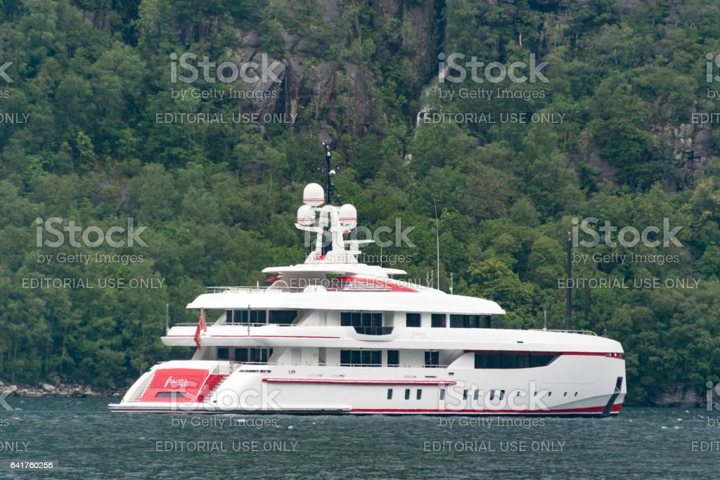 Luxury yacht in the Lysefjord in Norway. stock photo