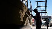 Luxury yacht maintenance at the marina