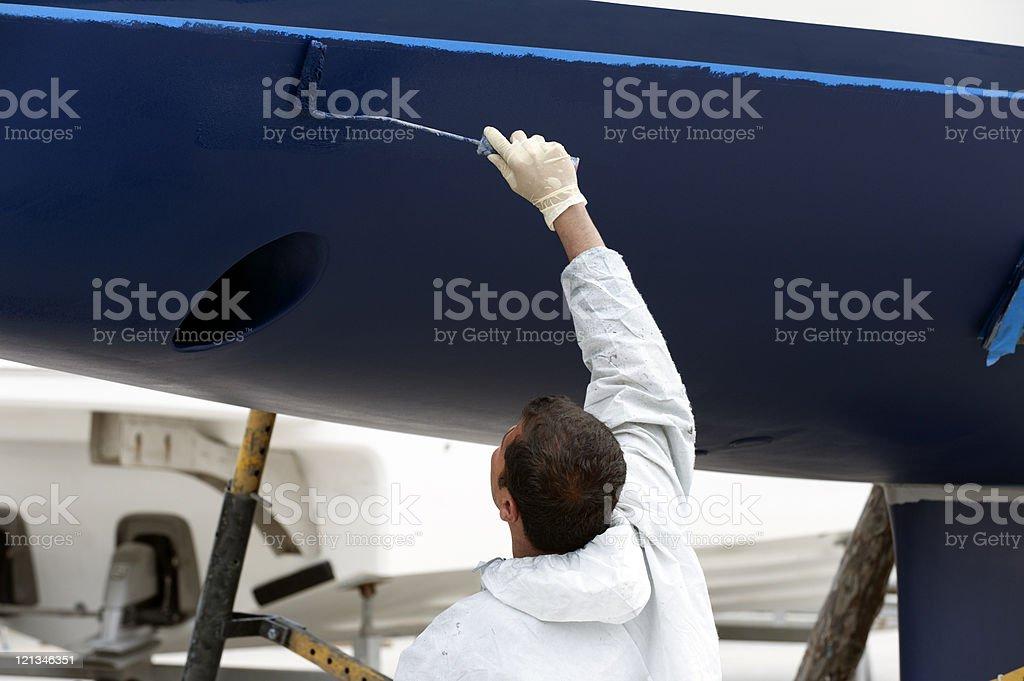 luxury yacht maintenance at the marina stock photo