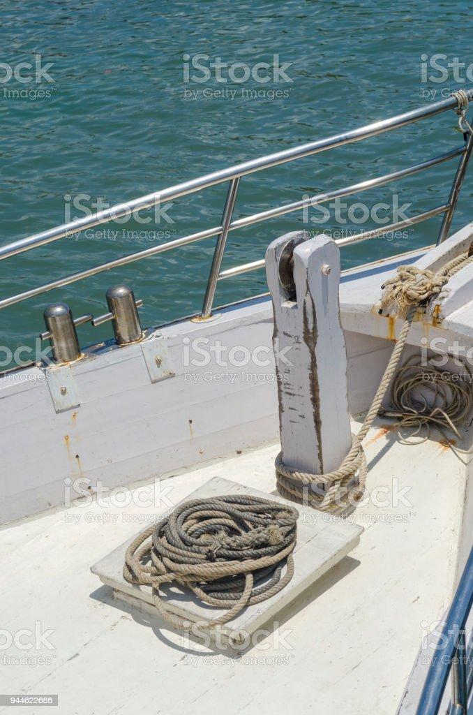 Luxury Yacht mast head equipment stock photo