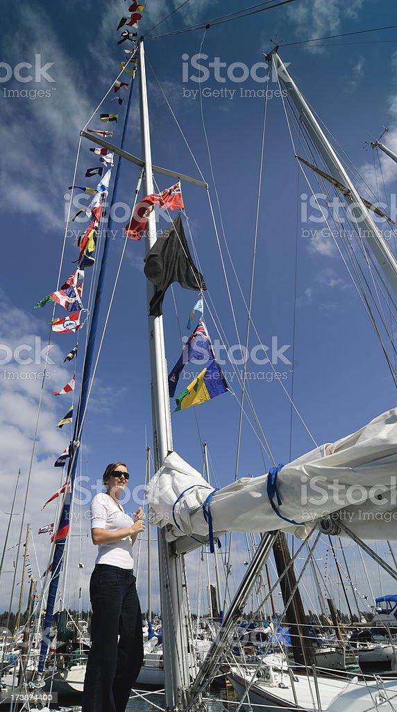 Luxury Yacht Preparing To Sail royalty-free stock photo