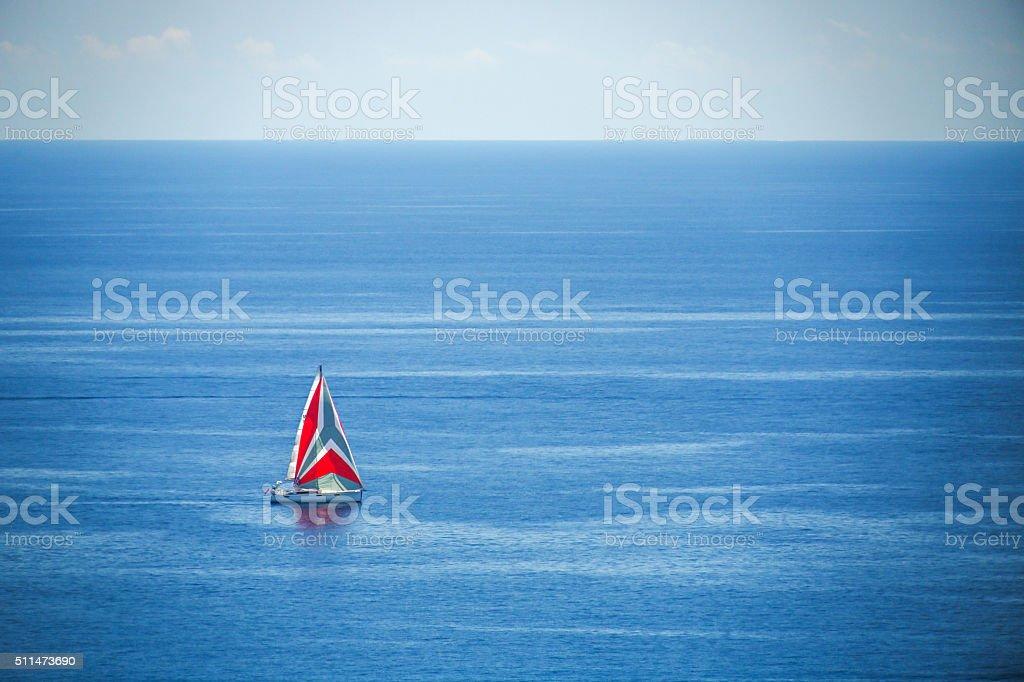 Luxury yacht sailing in Mediterranean Sea near French Riviera, M stock photo