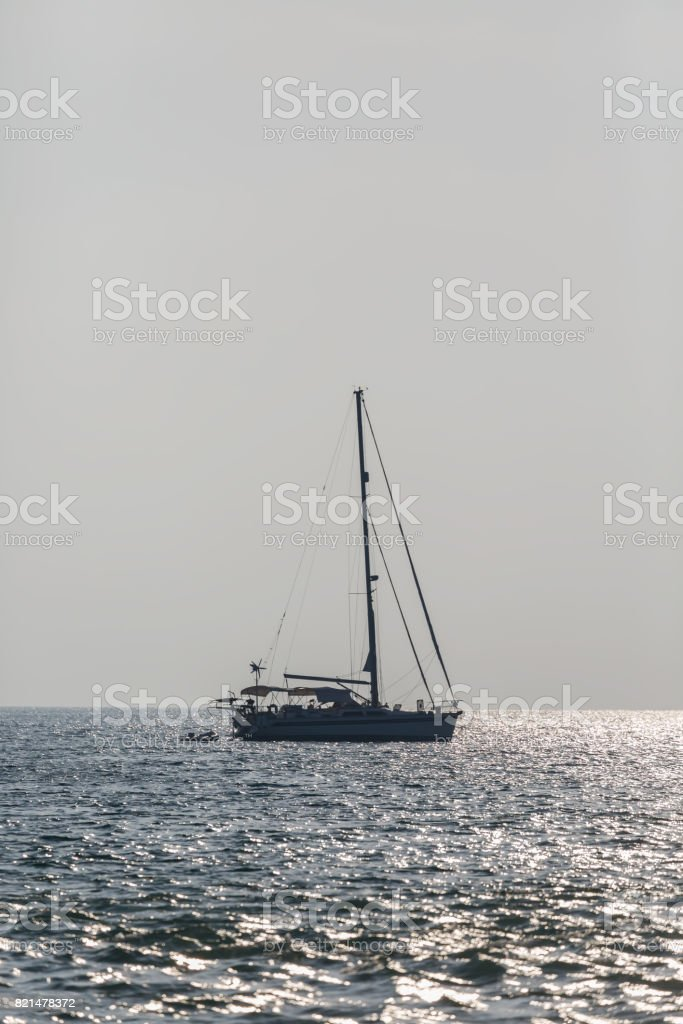 Luxury yacht Sailing on sea stock photo