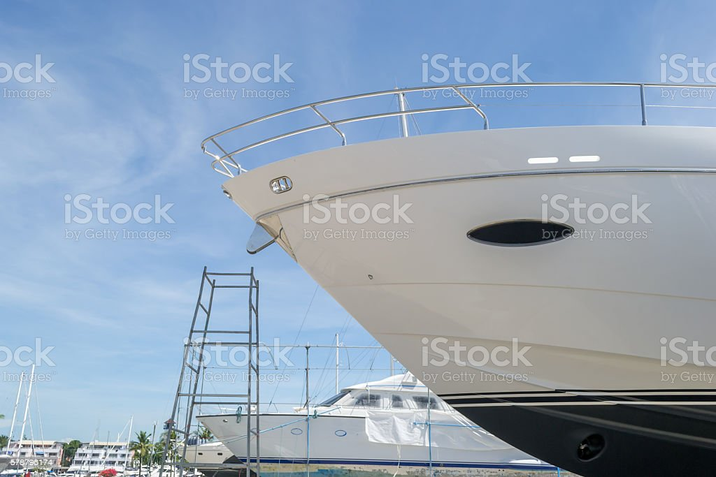 Luxury yacht waiting for service and repair stock photo