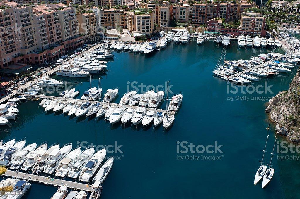 Luxury yachts and apartments in a Monaco Marina stock photo