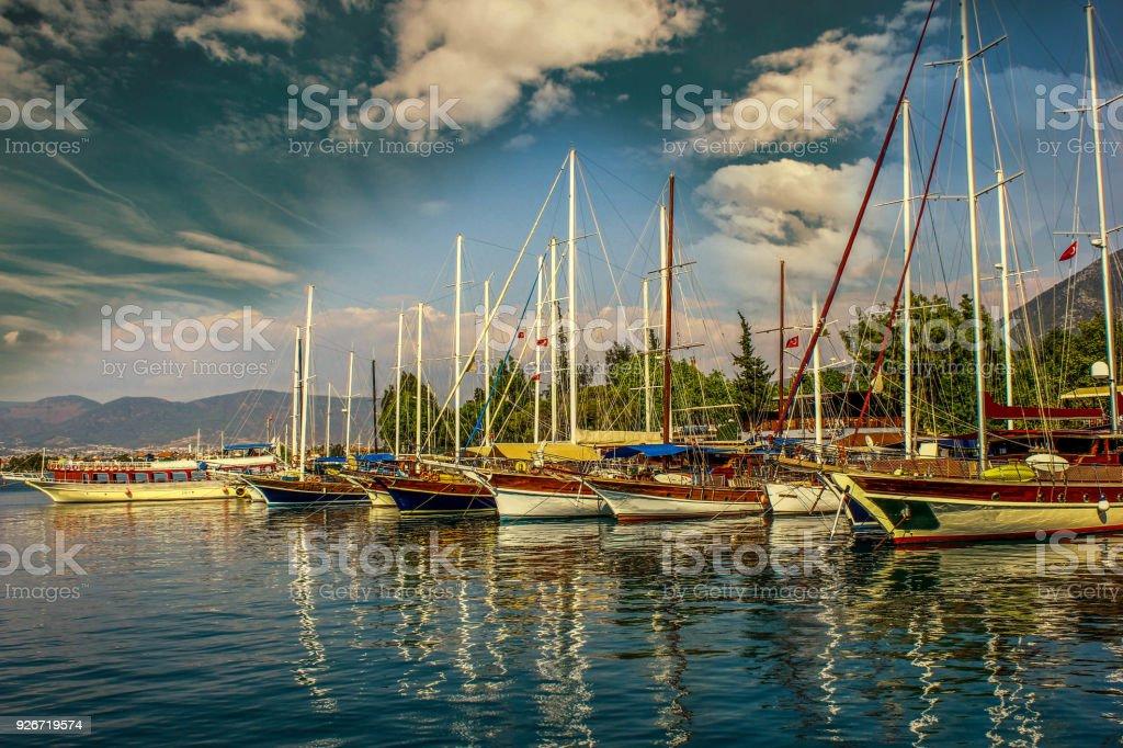 Luxury Yachts and Beautiful sunset stock photo