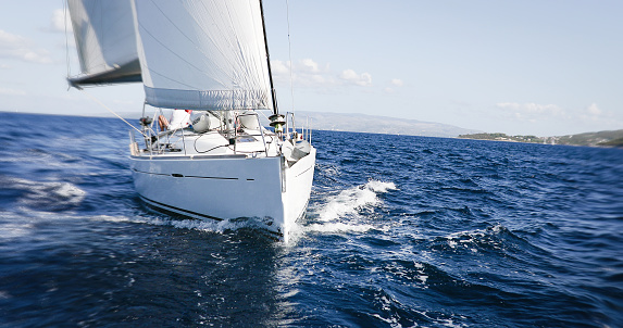 Luxury yachts at Sailing regatta. Sailing in the wind through the Sea.