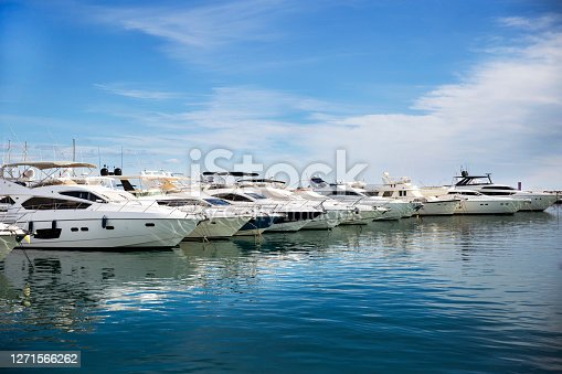 Luxury yachts docked in Puerto Banus, the marina of Marbella. Famous and Luxury location in Costa del Sol , Spain
