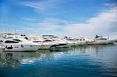 """istock Luxury yachts docked in """"Puerto Banus"""" - Banus Bay - Marbella - Spain 1271566262"""