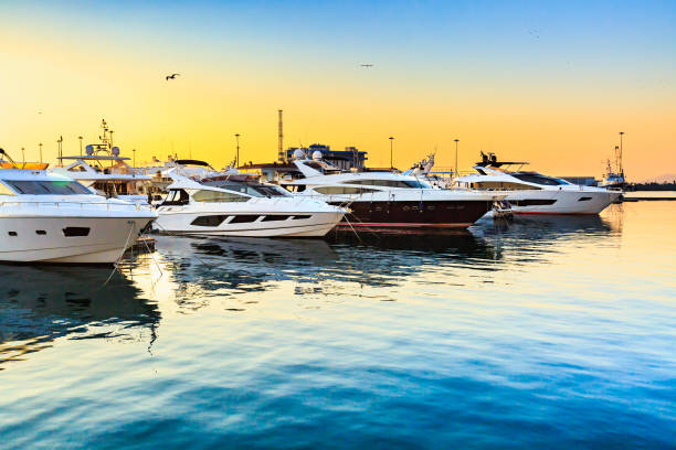 Luxury yachts docked in sea port at sunset. stock photo