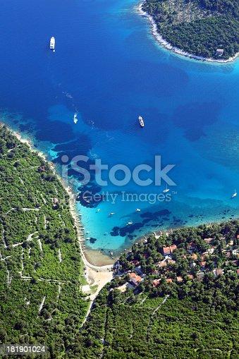 istock Luxury yachts in beautiful bay 181901024