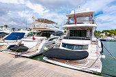 Luxury yachts in Cala D'Or marine, Mallorca, Balearic islands, Spain