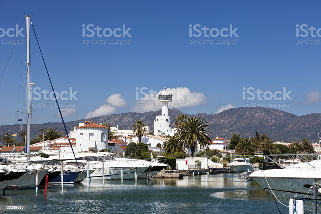 Luxury Yachts Moored in the Empuriabrava Harbour stock photo