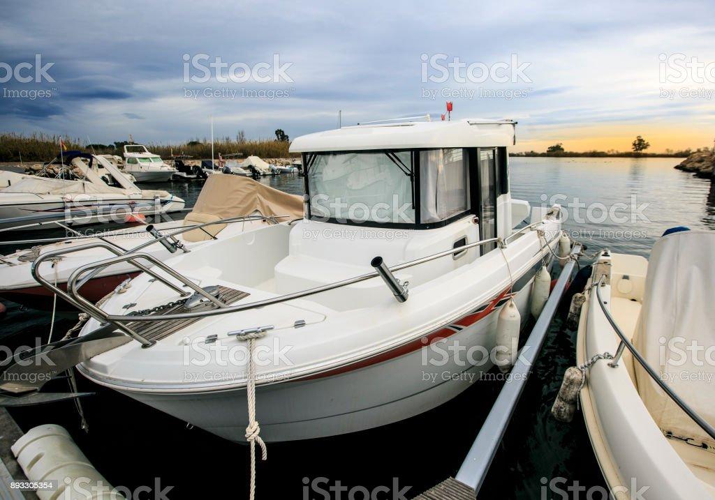 Luxury yatch in a port stock photo