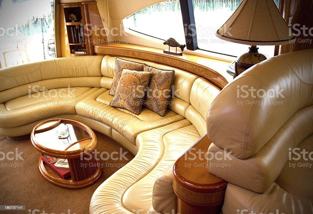 Luxury Yaught Interior Passenger Lounge Area stock photo