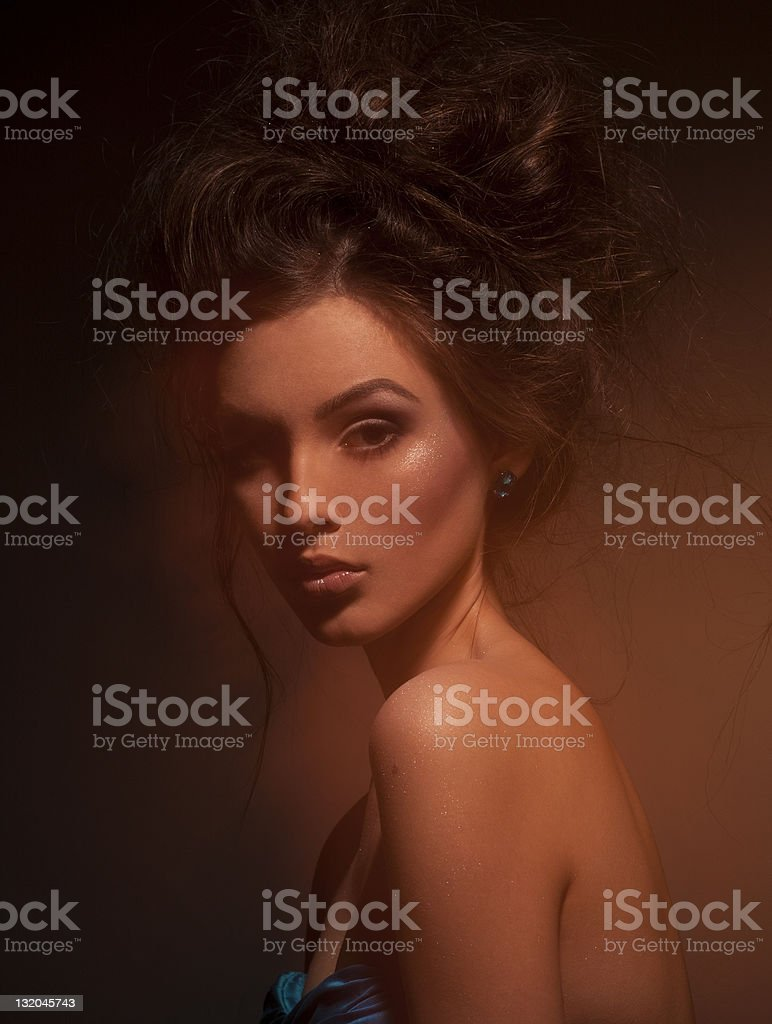 luxury young brunet girl in exclusive jewelry royalty-free stock photo