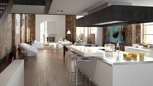 luxus kitchen in a loft luxus kitchen in a loft, 3d penthouse stock pictures, royalty-free photos & images