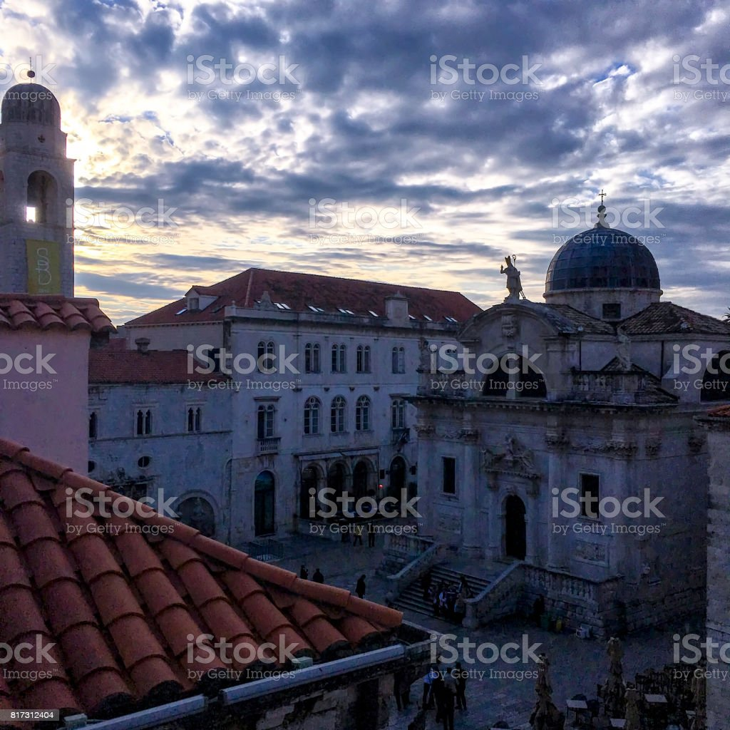 Luza Square_St Blaise Church and the Bell Tower of the Dubrovnik Old Town, Croatia stock photo