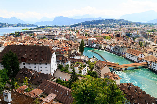 luzern city view - lucerne stock pictures, royalty-free photos & images