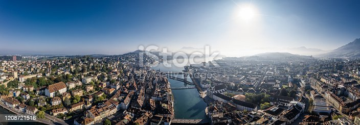 high angle view of Lucerne old town panoramic from drone point in the morning.