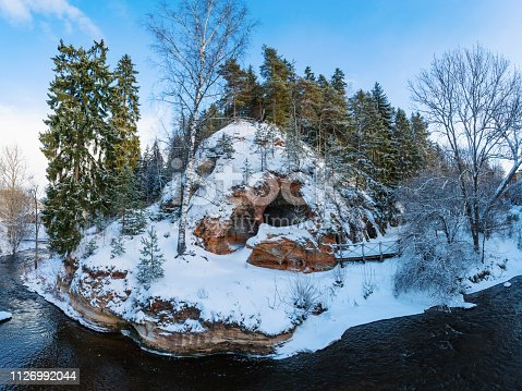 View from the observation decks towards the Lutuzis rock in Ligatne, in the Gauja National Park in Latvia