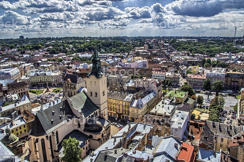 Lviv Aerial View Cityscape stock photo
