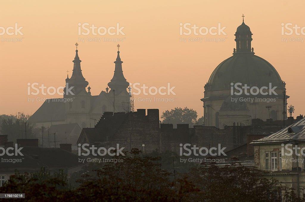 Lviv at sunrise stock photo
