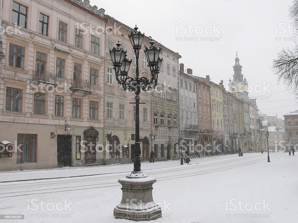 Lviv at winter stock photo